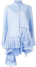 Alexander McQueen - pleated asymmetric shirt - women - Cotton - 38, 42, 40 - BLUE