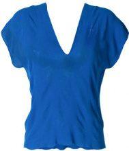 Pierantoniogaspari - stretch V-neck top - women - Cotton - 40, 42, 44, 46 - BLUE