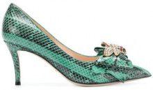 Gucci - bow embellished pumps - women - Leather/Snake Skin - 37, 37.5, 39 - Verde