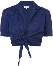 Carven - tie knot blouse - women - Cotone - 42 - BLUE