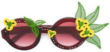 Linda Farrow - Occhiali da sole tondi con motivo a fiori - women - Acetate/Metal (Other) - OS - RED