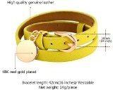 U7® giallo-Bracciale in pelle, placcato oro 18 k, ciondolo da donna