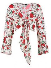 Freya Spot Floral Tie Front Crop