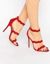 Public Desire - Ela - Sandali con tacco e cinturini rossi ondulati