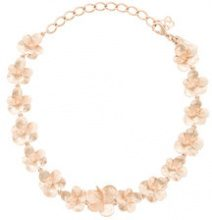 Oscar de la Renta - brushed texture flower necklace - women - Gold/Brass/Pewter - OS - METALLIC