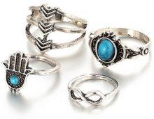 Set di 4 anelli in stile boho