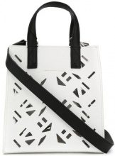 Kenzo - laser cut mini tote - women - Cotton/Calf Leather/Polyamide/Polyurethane - One Size - WHITE