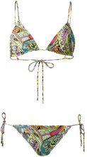 Etro - Bikini con stampa motivo cashmere - women - Nylon/Spandex/Elastane - 44 - BLACK