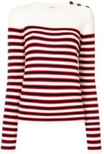 Saint Laurent - striped fitted sweater - women - Virgin Wool - XS, M, S - WHITE