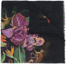 Oscar de la Renta - jungle print scarf - women - Modal/Cashmere - One Size - BLACK