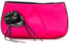 Pinko - Clutch con fiore di paillettes - women - Cotone/Polyester - OS - PINK & PURPLE