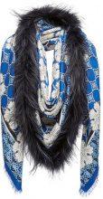 Fendi - Touch of Fur shawl - women - Silk/Wool/Fox Fur - OS - BLUE
