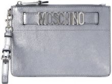 Moschino - Pochette con logo - women - Leather - OS - METALLIC