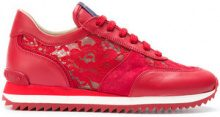 Le Silla - Sneakers con pannelli in pizzo - women - Leather/Polyamide/rubber - 36, 37.5, 38, 38.5, 39, 39.5, 40 - RED