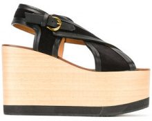 Isabel Marant - Étoile Zlova sandals - women - Calf Leather/Calf Suede/Leather/wood - 37, 38, 39, 40 - Nero