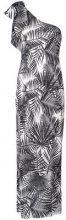 Fleur Du Mal - palms print single-shoulder dress - women - Silk - XS, S, M, L - NUDE & NEUTRALS
