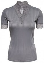 ONLY Lace Short Sleeved Top Women Grey