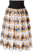 Christopher Kane - midi glitter flower skirt - women - Nylon/Polyester - 42 - Bianco