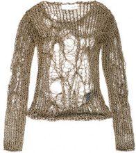 Isabel Benenato - netting top - women - Cotton - 42 - BROWN
