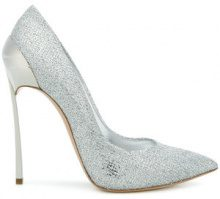 Casadei - Techno Blade glittered pumps - women - Leather/Polyester/Kid Leather - 35, 35.5, 36, 36.5, 37, 38.5, 39, 39.5, 40, 40.5, 41 - METALLIC