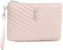 Saint Laurent - quilted clutch - women - Calf Leather - One Size - PINK & PURPLE