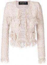 Balmain - fringed cropped jacket - women - Cotton/Acrylic/Polyamide/metal - 38, 40, 42 - PINK & PURPLE