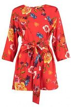 Kitty Knot Front 3/4 Sleeve Playsuit