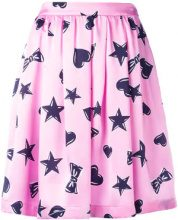 Moschino - heart print skater skirt - women - Silk/Acetate/Viscose - 38, 40, 42, 44, 46 - PINK & PURPLE