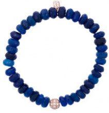 Sydney Evan - Braccialetto con perline in calcedonio e ciondolo e sfera con diamanti - women - Diamond/14kt Rose Gold/Pietra - OS - BLUE