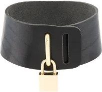 Absidem - Collarino con lucchetto - women - Leather/Metal (Other) - OS - BLACK