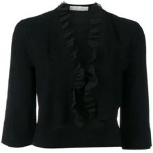 D.Exterior - frill-hem cropped cardigan - women - Polyamide/Polyester/Viscose - S, M - BLACK