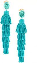 Oscar de la Renta - tiered tassel drop earrings - women - Nylon - OS - GREEN