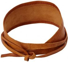 PIECES VIBS LEATHER TIE WAIST BELT NOOS, Cintura Donna, Marrone (Cognac), 75 cm