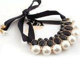 Ragazze gemme acriliche grandi perle ciondolo nastro falso collare collana girocollo elegante donna (nero)