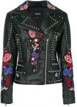 Arma - studded embroidered patch biker jacket - women - Sheepskin/Polyester - 38, 40, 42 - BLACK