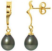Pearls Colors &-Orecchini pendenti, in oro giallo 9 kt, con perla coltivata di Tahiti, AM-9BOT SB8J 176