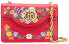 Gucci - small Linea Ricami floral embroidered shoulder bag - women - Leather - OS - RED