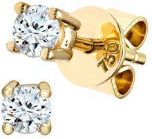 Naava Orecchini a Perno da Donna, Oro Giallo 750/1000, Diamante