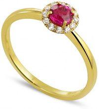 Tous mes bijoux Donna  18 carati  Oro giallo    G rosso Rubino Diamante FINERING, Oro giallo, 8, cod. BADM07053-0001