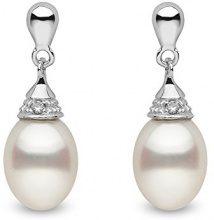 Kimura Pearls-Collana in oro bianco 9 kt da 7-7,5 mm, colore: bianco, a forma di goccia, perle d'acqua dolce coltivate, AA-Orecchini