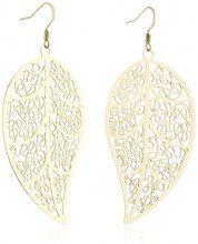 ZEEme 374030008 - Orecchini pendenti da donna, metallo placcato oro