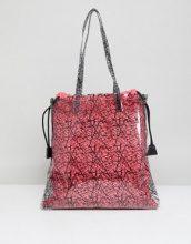ASOS DESIGN - Borsa shopper trasparente con stampa e pochette in tela colore acceso - Rosa