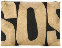 - Anne Grand Clement - Clutch 'SOS' - women - seta - Taglia Unica - effetto metallizzato