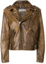 Golden Goose Deluxe Brand - Giacca 'Chiodo' - women - Calf Leather/Viscose/Cupro/Cotton - XS, S, M, L - BROWN