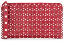 Red Valentino - flower applique stud clutch - women - Leather - One Size - RED