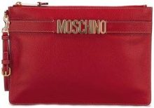 Moschino - logo strap clutch - women - Leather - OS - RED