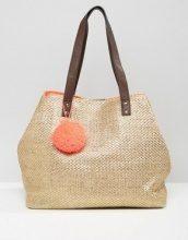 New Look - Maxi borsa con pompon in paglia metallizzata