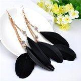 Lureme® stile bohemien catena tono oro 3 pezzi neri grandi piume pendenti ciondola gli orecchini per le donne e le ragazze (02004740-1) nero