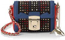 Trussardi Jeans Saint Tropez, Borsa a Tracolla Donna, Blu (Blue/Red), 17x13x7 cm
