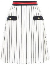 Loveless - striped a-line skirt - women - Polyester/Cupro - 34, 36 - WHITE